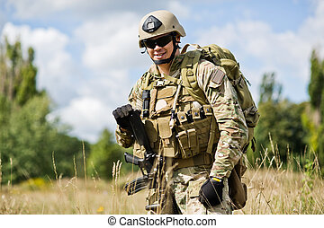 Soldier - soldiers with weapons posing on rest