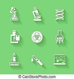 Set of white chemistry icons.