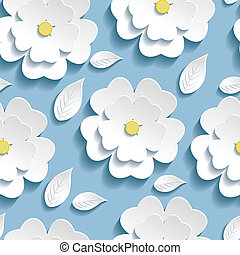 Trendy seamless pattern with 3d white sakura - Beautiful...