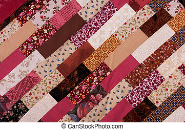 Patchwork - red and brown quilt patchwork texture background
