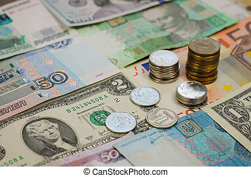Money from different countries: dollars, euros, hryvnia,...