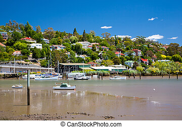 River Tamar Launceston Tasmania Australia as seen from from...
