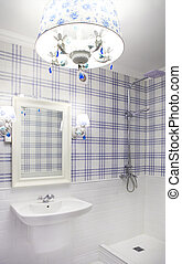 Beautiful blue and white bathroom with shower