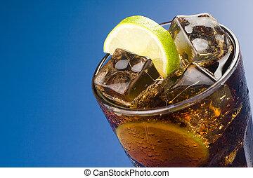 refrescar, vidro, cola, limão, gelo