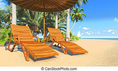 Deckchairs and parasol on a beach 2 - Illustration of sandy...