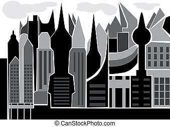 skyscape. silhouette of abstract city isolated on white