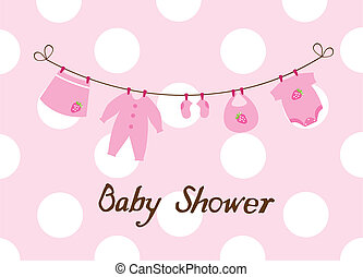 Baby Shower - vector baby shower card with clothes and...