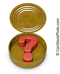 tin can - open tin can in which is a question mark symbol