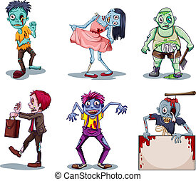 Scary zombies - lllustration of the scary zombies on a white...