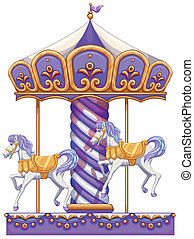 A purple merry-go-round ride - lllustration of a purple...