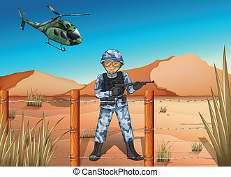 A brave soldier in the battlefield - Illustration of a brave...