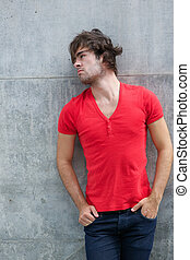 Male fashion model in red shirt