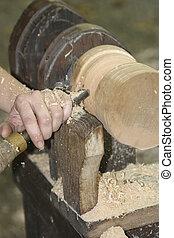 Wood turning on wood lathe