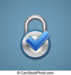 Combination lock - Padlock with check mark on blue...