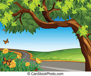 A giant tree at the road - Illustration of a giant tree at...