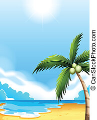A beach with a coconut tree - Illustration of a beach with a...