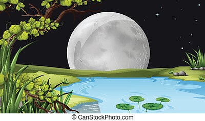 A pond under the fullmoon - Illustration of a pond under the...