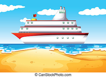 A ship at the beach - Illustration of a ship at the beach