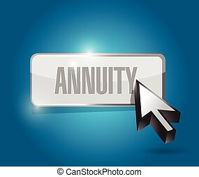 annuity button and cursor illustration design over a blue...