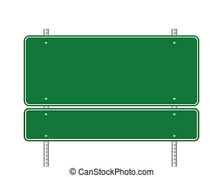 Blank green traffic sign vector illustration