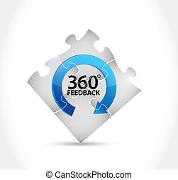 puzzle pieces 360 feedback cycle illustration design over a...