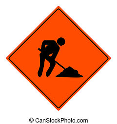 Men at work sign illustration