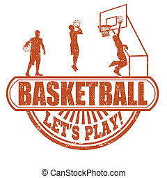 Basketball stamp - Basketball grunge rubber stamp on white...
