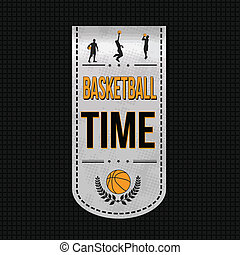 Basketball time banner design over a black texture...