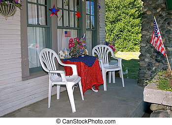 4th of July Decorated Porch