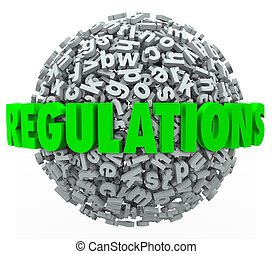 Regulations Word Letter Ball Sphere Rules Laws Guidelines -...