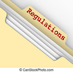 Regulations Word Red Ink File Manila Folder Tab Documents -...