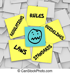 Rules Regulations Laws Standards Sticky Notes Stressed Face...
