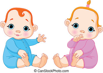 Twins - Illustration of two beautiful babies