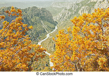 Autumn landscape of Verdon gorge. Provence. France.