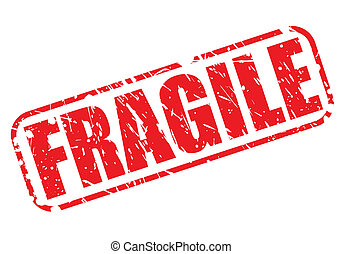 Fragile red stamp text