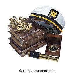 六分儀, 望遠鏡, 划船, 書, 上尉, 帽子