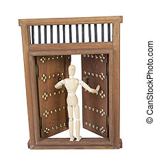 Opening Wooden Castle Door with Wooden Bar Lock - Opening...