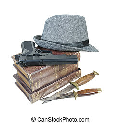 asesinato, misterio, Libros, arma de fuego, Cuchillos,...