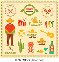 mexico - vector mexican icons, mexico stamp illustration