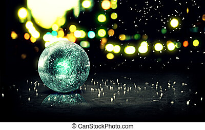 Blue Orb Snow 3D Bokeh City