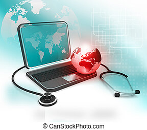Laptop with  Stethoscope and globe, global medical concept