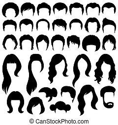 hair silhouettes - Vector hair silhouettes, woman and man...
