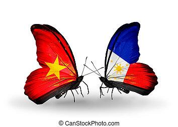 2, 蝶, 旗, 翼, シンボル, 関係, ベトナム,...