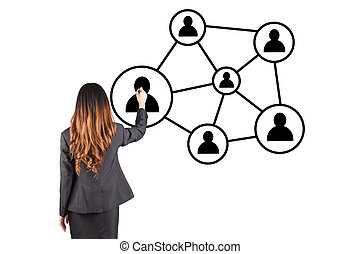 Business woman hand pressing social network icon on blue backgro