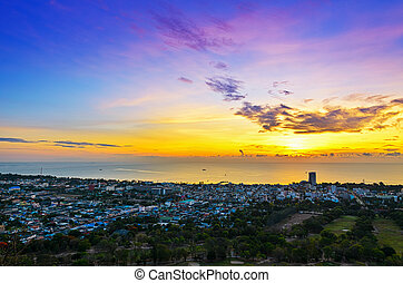 Landscape Hua Hin city at sunrise - High angle view Hua Hin...