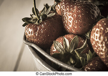 Vintage Strawberries Close Up - Close up of strawberries in...