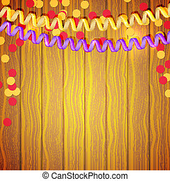 Festive serpentine and confetti on a wooden background. Vector i