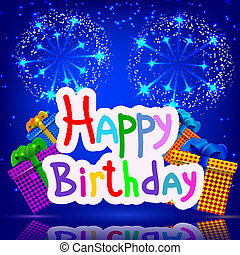 Festive blue background with gifts fireworks. Happy birthday. Ve