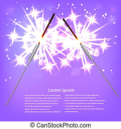 Couple with sparklers on a purple background. Vector illustratio