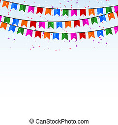 Celebratory background with confetti and flags. Vector illustrat